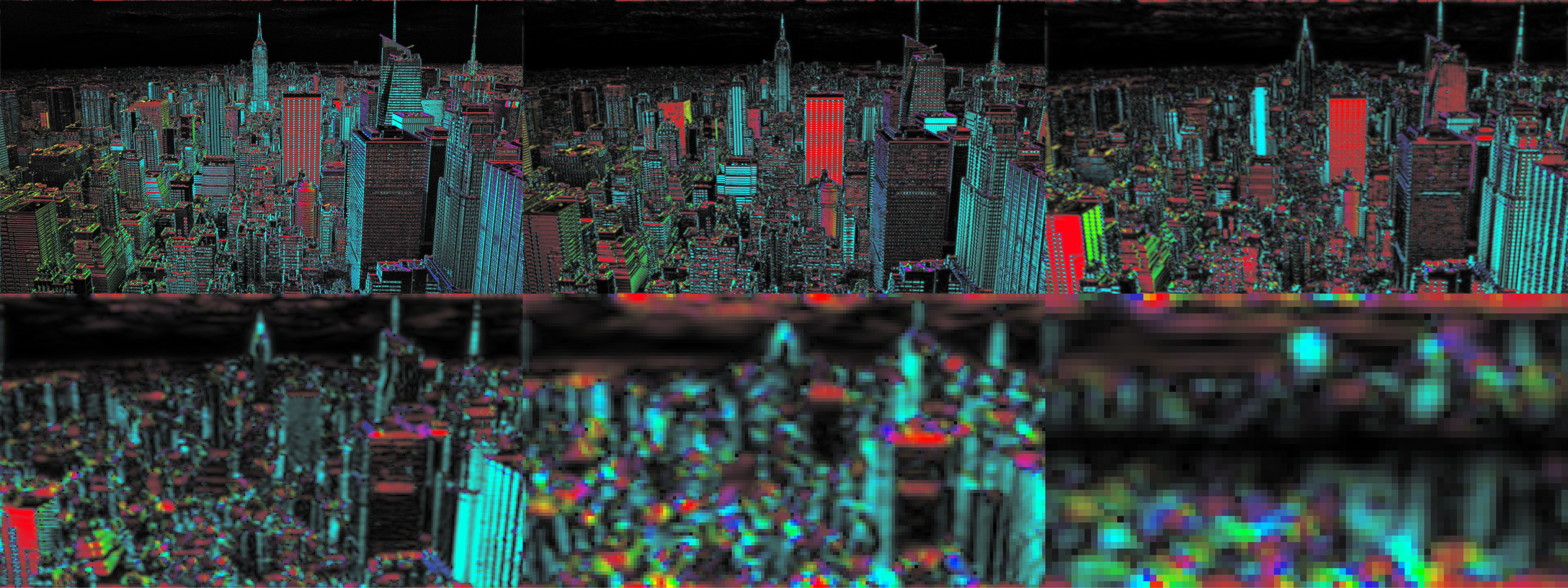 Steerable Pyramid frequency decomposition (6 level) of New York image. Hue component = local analysing filter orientation